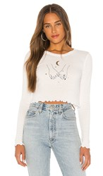 Wildfox Couture Pinky Promise Ren Long Sleeve In White. Vanilla