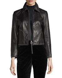 Frame Studded Motorcycle Lamb Leather Jacket Black