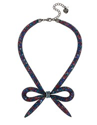 Betsey Johnson Mesh Bow Frontal Necklace Multi