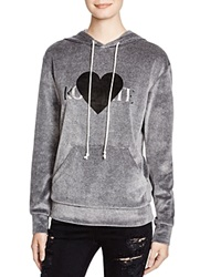 Rodarte Rohearte Velour Hooded Sweatshirt Charcoal