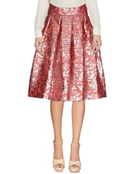 Io Couture Knee Length Skirts Brick Red