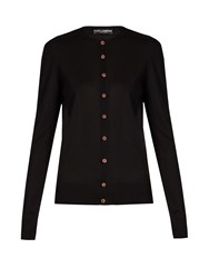 Dolce And Gabbana Crystal Embellished Silk Knit Cardigan Black