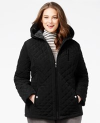 Laundry By Design Plus Size Faux Fur Lined Quilted Velour Coat Black