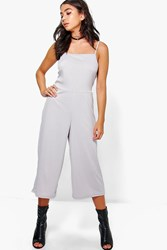 Boohoo Strappy Ribbed Culotte Jumpsuit Silver