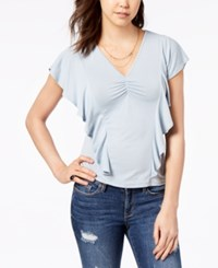 American Rag Juniors' Ruched Ruffle Sleeve Top Created For Macy's Blue