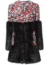 Giamba Faux Fur Panel Floral Coat Red