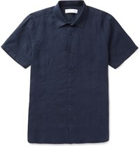 Orlebar Brown Meden Slim Fit Slub Linen Shirt Navy