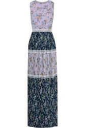 Mikael Aghal Woman Pleated Floral Print Chiffon Maxi Dress Lilac
