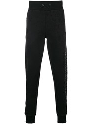 Philipp Plein Side Logo Distressed Track Pants Black