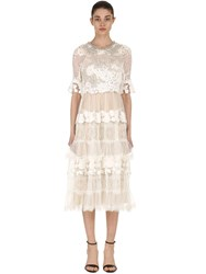 Antonio Marras Embellished Lace And Tulle Dress Ivory