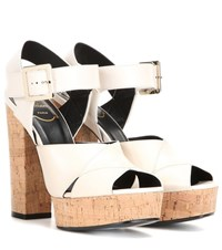 Roger Vivier Leather Platform Sandals White