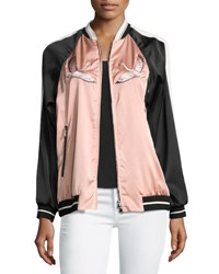 Red Valentino Embroidered Stretch Satin Novelty Bomber Jacket Black