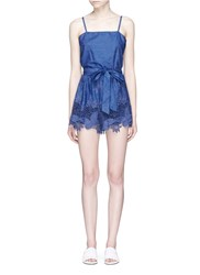 Alice Olivia 'Rosetta' Belted Chambray Rompers Blue