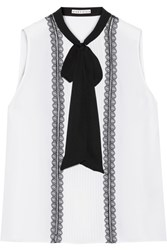 Alice Olivia Spencer Pussy Bow Pintucked Chiffon Top White