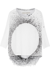 Raquel Allegra Printed Shredded Cotton Blend Jersey Top