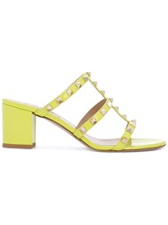 Valentino Rockstud Sandals Women Leather Patent Leather 37.5 Green