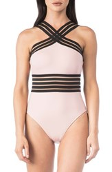 Kenneth Cole 'S New York Stompin In My Stilettos High Neck One Piece Swimsuit Blush
