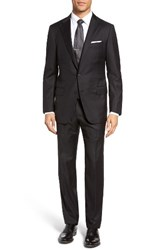Hickey Freeman Men's Big And Tall Hamilton Classic Fit Stripe Wool Suit Black