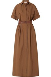 Brunello Cucinelli Belted Crinkled Cotton Blend Maxi Dress Brown