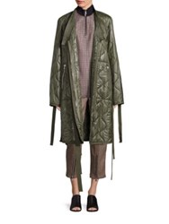 3.1 Phillip Lim Long Kimono Quilted Utility Jacket Green