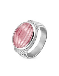 Roma Imperiale Carved Pink Rubellith And Diamond 18K Gold Ring