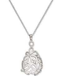 Macy's Diamond Daisy Pendant Necklace 1 4 Ct. T.W. In Sterling Silver