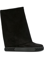 Casadei Fold Over Mid Calf Boots Black
