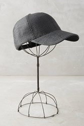 Anthropologie Woven Straw Baseball Cap Black