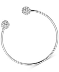 T Tahari Silver Tone Essential Pave Bypass Bangle Bracelet