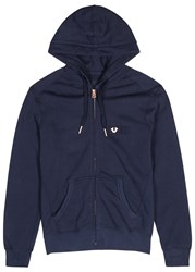 True Religion Blue Hooded Cotton Sweatshirt Navy