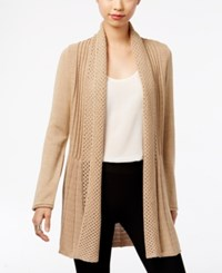 Ny Collection Metallic Fishtail Cardigan Gold Lurex