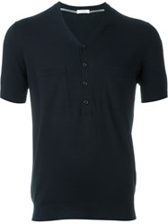 Paolo Pecora Buttoned V Neck Top Blue