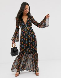 Glamorous Plunge Front Maxi Dress In Bird Floral Black
