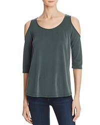 Aqua Cold Shoulder Tee Dark Green