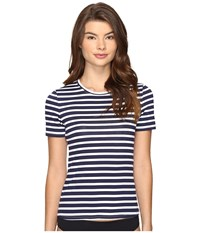 Tommy Bahama Breton Stripe Short Sleeve Half Zip Rash Guard Mare Navy White Women's Swimwear Gray