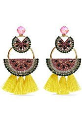 Elizabeth Cole Gold Tone Crystal And Tassel Earrings Multicolor