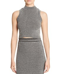 Michelle By Comune Mock Neck Crop Top 2 Tone Charcoal