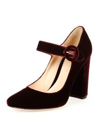 Gianvito Rossi Velvet Mary Jane 100Mm Pump Royale Burgundy