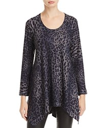 Nally And Millie Leopard Print Handkerchief Tunic Gray Leopard