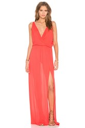 Bobi Rayon Gauze V Neck Sleeveless Maxi Dress Red