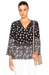 Suno Button Front Top In Black Floral Black Floral