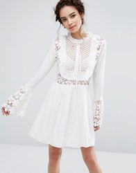 Endless Rose Bell Sleeve Dress With Tied Ribbon Off White