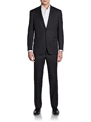 Saks Fifth Avenue Black Classic Fit Two Button Wool Suit Charcoal