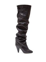 Isabel Marant Likita Slouched Knee High Leather Boots Black