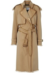 Burberry Ring Pierced Gabardine Trench Coat Neutrals