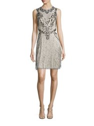 Aidan Mattox Sleeveless Beaded Fringe Dress Champagne