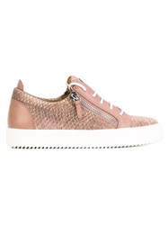 Giuseppe Zanotti Design Python Printed Nicki Low Top Sneakers Pink Purple