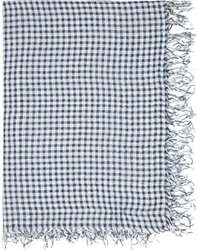 Undercover White And Blue Check Scarf