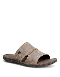 Born Shoe Gideon Leather Slide Sandals Taupe