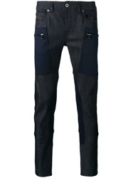 Diesel Black Gold Zip Patch Jeans Men Cotton Polyester Spandex Elastane 32 Blue